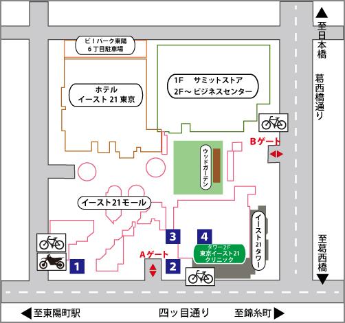 イースト21内の地図